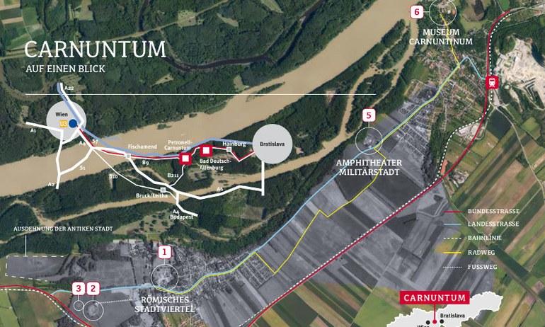 Übersicht über das antike Carnuntum und die Legionärsroute (Radweg).
